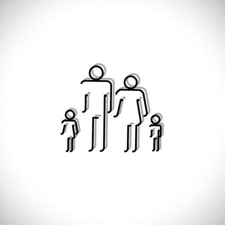 Familia De Cuatro Personas Símbolos Iconos Padre Madre Hijo E Hija