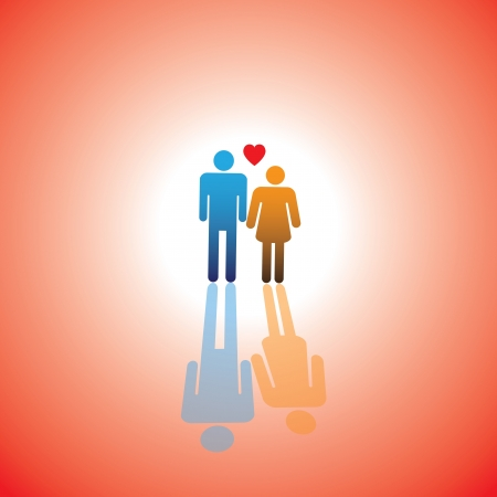 two hearts: Young couple of lovers icon(symbol) with heart sign of boy & girl or husband and wife or bride and bridegroom