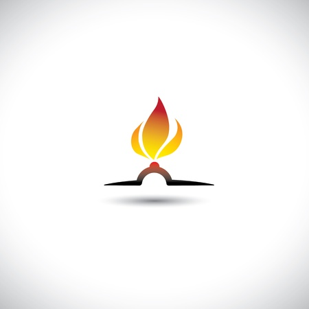 ignited: Nozzle with gas burning bright as hot orange yellow flame icon