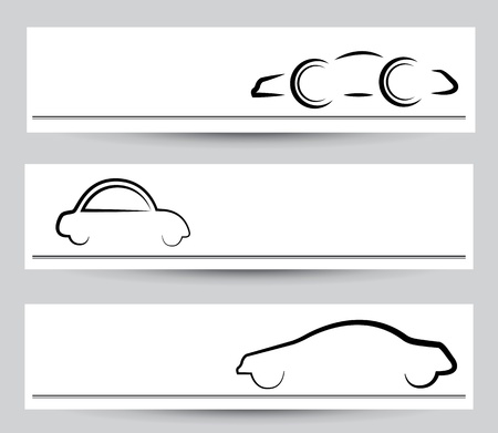 snazzy: Banner of stylish car signs & symbols. Vector graphical elements in black color on gray background.