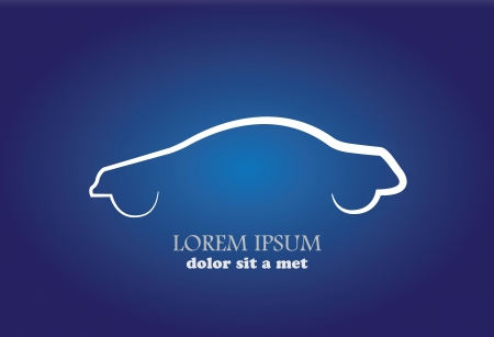 imaginary line: Stylish modern car abstract sign or symbol. Vector icon graphic in white color on blue background.