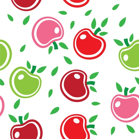Seamless abstract background pattern of colorful apples vector. This graphic illustration can be used for wallpaper, pattern fills, web page background, surface textures, etc. Vector