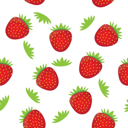 Seamless background pattern template- colorful strawberry fruits vector. This graphic illustration can be used for wallpaper, pattern fills, web page background, surface textures, etc. Vector