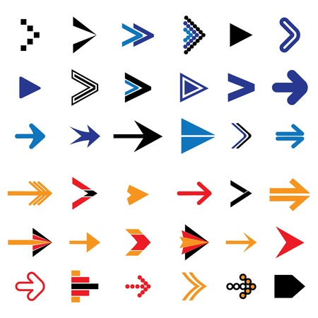 Flat abstract arrow icons or symbols vector illustration  The graphic contains 36 arrow signs and symbols Stock Vector - 19154387