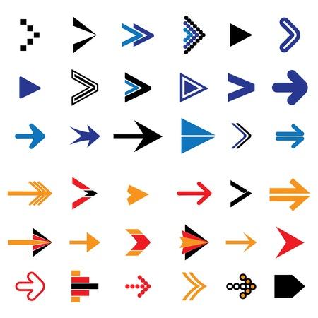 Iconos de flecha abstractos planos o símbolos ilustración vectorial El gráfico contiene 36 signos de flecha y símbolos Foto de archivo - 19154387