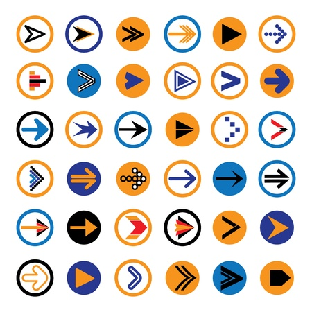 Flat abstract arrow in circles icons, symbols vector illustration. The graphic contains 36 arrow signs and symbols Stock Vector - 19154391