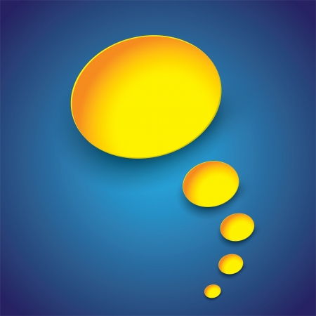 hallucinate: Yellow paper thought bubbles(or dream bubbles) on blue gradient background- vector illustration.  Illustration