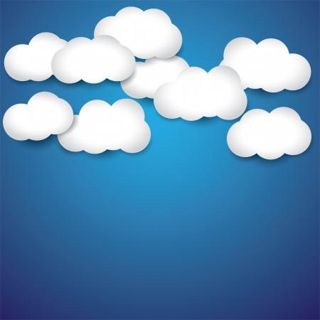 정오: abstract background- white paper clouds & blue sky. The graphic illustration consists of blue sky and white cottony clouds on a bright summer or spring late morning or noon 일러스트
