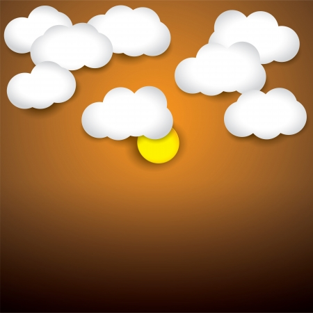 early in the evening: background- white paper clouds & evening sky with sun. The graphic illustration consists of orange sky and white clouds representing early morningevening Illustration