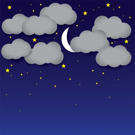 background- white paper clouds, night sky, moon, stars. The graphic illustration consists of dark blue sky and grey clouds representing midnight with cresent moon and bright yellow stars