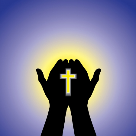 Person praying or worshiping with cross in hand - concept of a devout christian worshiping Christ with clear blue sky and sun in the background Vector