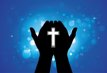 worshiping: Person praying or worshiping with holy cross in hand - concept of a devout faithful christian worshiping Jesus Christ with blue background of stars and circles Illustration