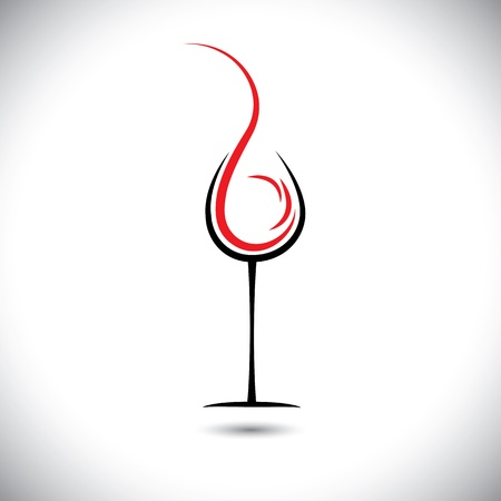 Abstract illustration of wine pouring(splash) into glass. Vector