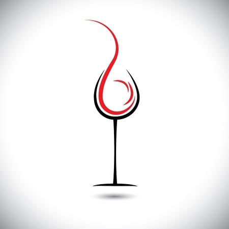 copa de vino: Ilustraci�n abstracta de vino vertido (splash) en un vaso.