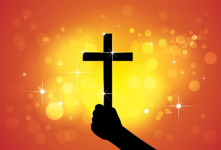 worshiping: Person holding holy cross,christian religious symbol,in hand(fist) - concept of a devout faithful christian worshiping Jesus Christ with yellow and orange background of stars and circles Illustration