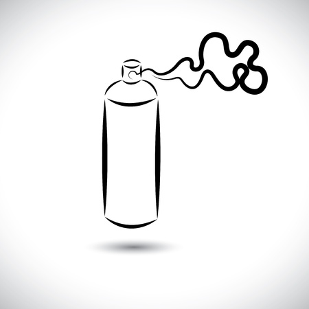 compressed: Abstract vector illustration of spray can(bottle) in use. The graphic shows the can being used and foam comimg out of the can