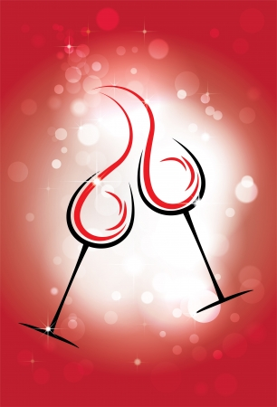 red wine pouring: holiday vector background with two glasses of wine, the stars