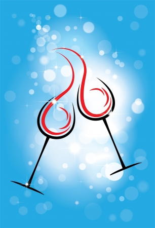 red wine pouring: holiday  background with two glasses of wine, the stars, blue background