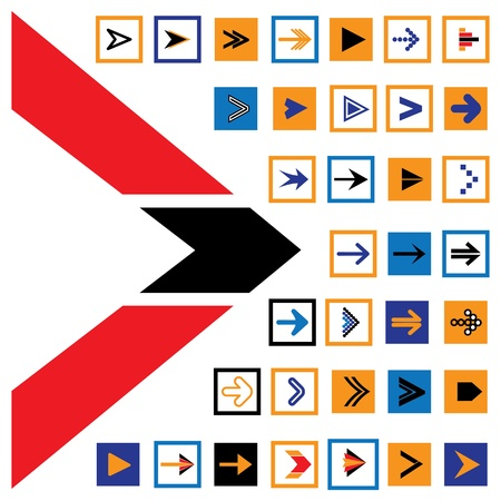Abstract arrow icons & symbols in squares. The graphic contains 36 flat arrow signs and symbols in blue, red, orange and black colors & can be used in print, web pages, blogs, banners, etc Stock Vector - 19290876