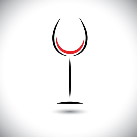 glass with red wine: Abstract line art graphic of wine glass on white background Illustration