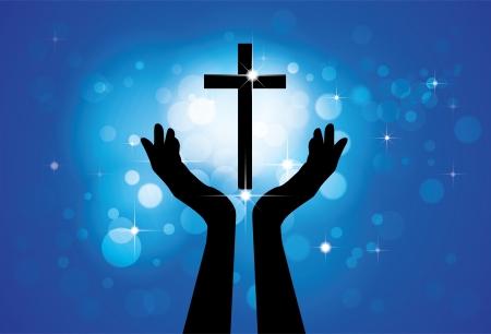 manos orando: Persona que ora o adorar a la santa cruz o Jesús - vector concepto gráfico de un devoto fiel Hijo culto cristiano del Señor (Cristo) con el fondo azul de las estrellas y los círculos
