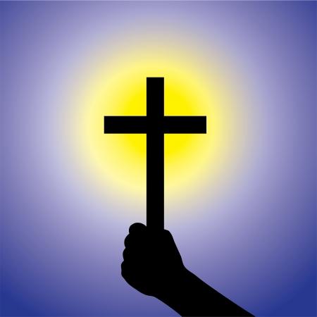 simbolos religiosos: Persona que muestra la fe en Se�or mediante la celebraci�n de santa cruz-gr�fico vectorial. Esta ilustraci�n es un concepto de un devoto fiel cristiano adora a Jesucristo con el fondo azul y el sol amarillo