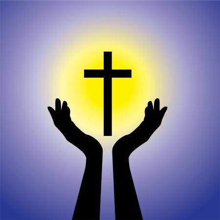 manos orando: Persona que ora o adorar al crucifijo o Jesús - concepto de un fiel cristiano cruz santa adoración devota (Cristo) con el fondo azul y el sol amarillo Vectores