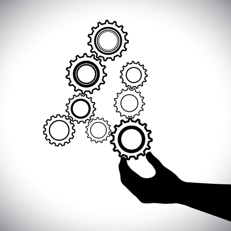 balanced: Abstract cogwheels in black and white controlled by hand(person). This graphic vector illustration represents harmonious & balanced working system where wheels work together to create a balance Illustration