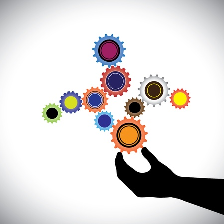hand beats: Abstract colorful cogwheels graphic  controlled by hand(person). This  illustration represents harmonious & balanced working system where wheels work together to create a balance Illustration