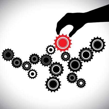 balanced: Cogwheels in black & white controlled by red gear by hand(person). This graphic vector illustration represents importance of key person(leader) in the team for the balance & smooth functioning
