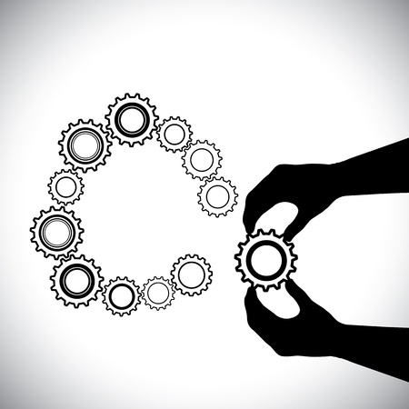 balck: Cogwheel being added by hand(person) for completion-vector graphic. This illustration contains a persons hand  helping a cogwheel join a team(group) of other cogwheels for a circle