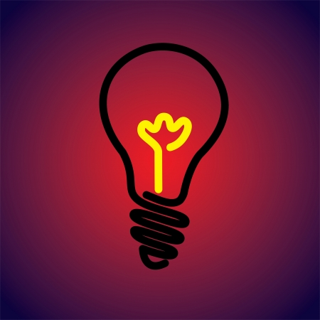 incandescent: Colorful & hot incandescent light bulb icon symbol-vector graphic. The illustration can represent an idea or solution or human creativity and inventiveness