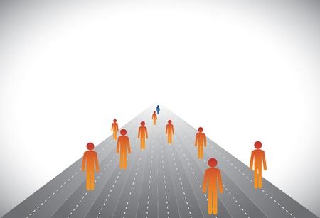 followers: Gruppo di seguaci e leader o dipendenti e manager-concetto di vettore. Questa illustrazione grafica in grado di rappresentare i dirigenti sul percorso di carriera con alcuni vincitori o amministratore delegato, presidente, presidente conduce una societ�, ecc
