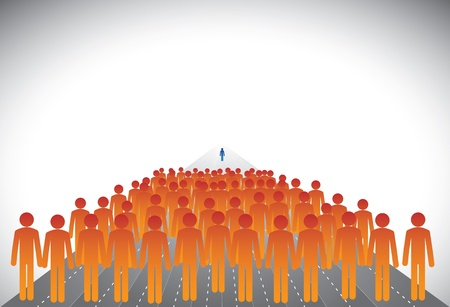 Group of followers & leader or employees & manager- concept vector. This graphic illustration can represent executives on career path with some winners or CEO,president,chairman leading a company, etc Stock Vector - 19376998