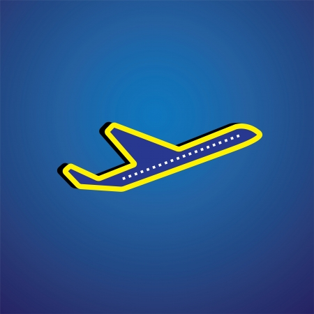 supersonic: Vector graphic- airliner or plane icon or symbol in yellow & blue. This illustration represents a jet, aeroplane or airbus symbolically & is flying in clear blue sky(background)