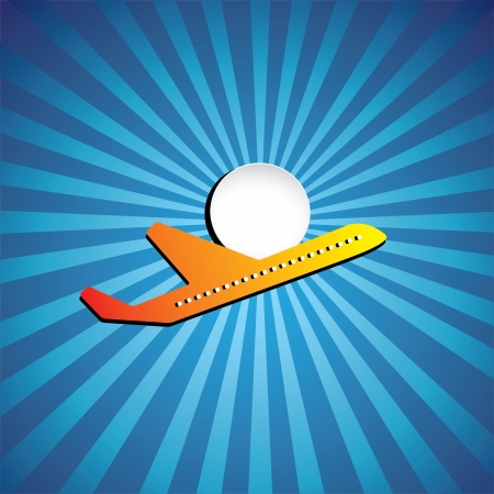 Vector graphic- airliner or jet icon flying on a bright day. This illustration represents a plane, aeroplane or airbus symbolically & is flying in high speed with sun. sun rays & sky in the background Illustration