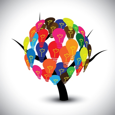 collective: Vector graphic of idea tree with colorful bulbs as solutions. The illustration can represent concepts like collective human knowledge, intellectual property, group of successful ideas, etc