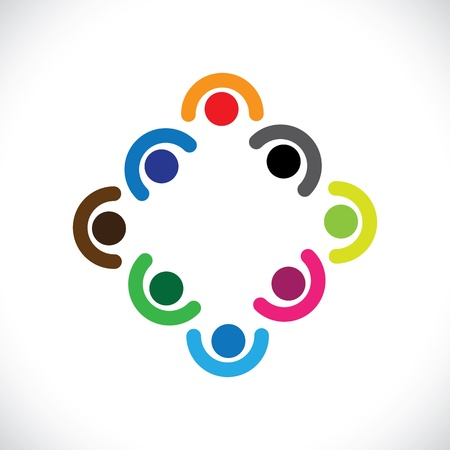 happy employees: Kids playing or executives, employees team meeting-vector graphic. The illustration can represent children in huddling together & playing or corporate team get-together or people diversity & unity Illustration