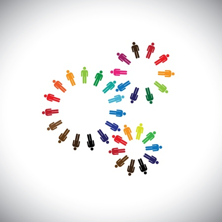 interacting: Concept of people as cogwheels representing communities & teams. This colorful graphic can represent concept teams interacting and collaborating with each other & also global social communities