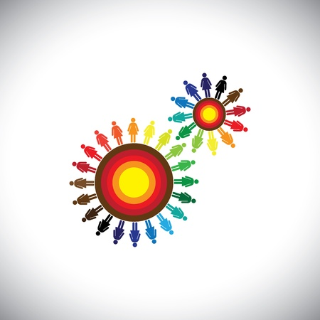 interacting: Concept of women groups as cogwheels representing communities. This colorful graphic can represent concept teams interacting and collaborating with each other & also global social communities