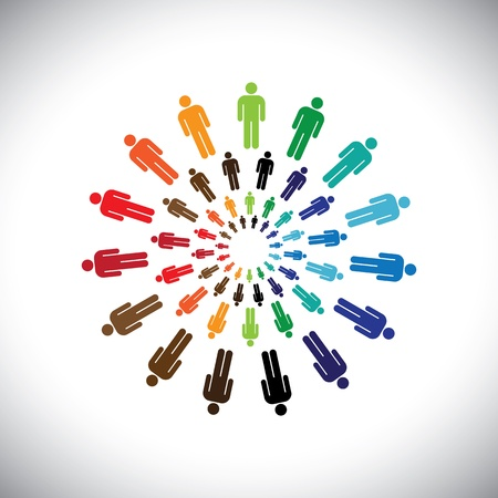 circulos concentricos: Equipos pueblo multiétnico de colores o las comunidades se reúnen en círculos. Este gráfico puede representar concepto de equipos que interactúan y colaboran con las comunidades sociales entre sí y también globales