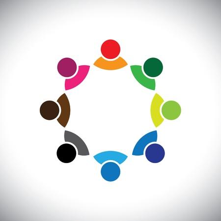 Colorful équipe multi-ethnique d'entreprise exécutif ou groupe d'employés. Ce graphique vecteur peut également représenter concept d'enfants qui jouent ensemble ou une réunion d'équipe ou de groupe de discussion, etc Vecteurs