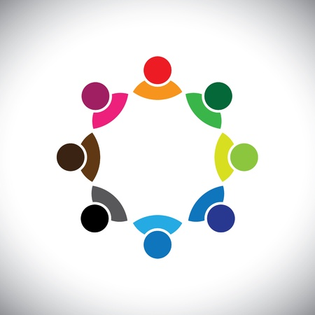 discussion: Colorful multi-ethnic corporate executive team or employee group. This vector graphic can also represent concept of children playing together or team meeting or group discussion, etc Illustration