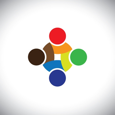 interaction: Colorful design of people symbols working as team & cooperating. This vector graphic can represent unity and solidarity in group or team of people, excellent teamwork, etc