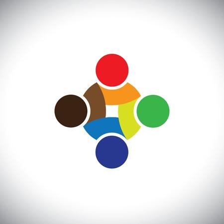 kommunikation: Färgglad design av människors symboler fungerar som lag och samarbeta. Denna vektorgrafik kan representera enighet och solidaritet i grupp eller team av människor, utmärkt lagarbete, etc