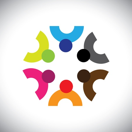 Colorful design of a team of people or children icons. This vector graphic can represent group of kids together or executives in meeting, unity among people, etc. Stock Vector - 19377018