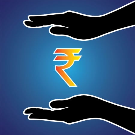 Illustration of protecting or safeguarding indian rupee. This graphic conceptually represents safeguarding money, investment, riches, money or any other financial asset Vector