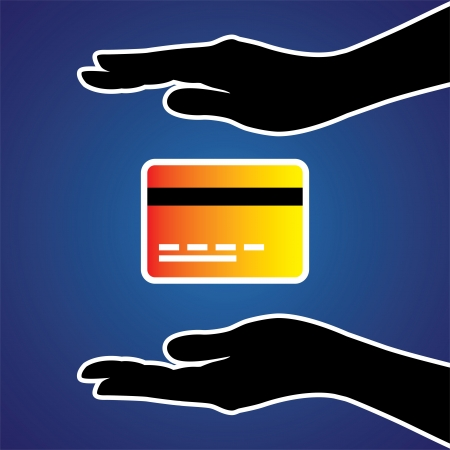 creditor: Illustration of protecting or safeguarding credit card. This graphic conceptually represents safeguarding the plastic money from online fraud, phishing, e-retailing, etc