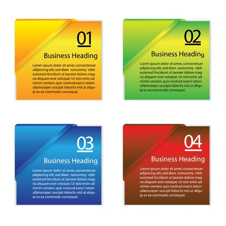 graphic illustration of colorful blank or empty paper info cards slips  for displaying messages and other information