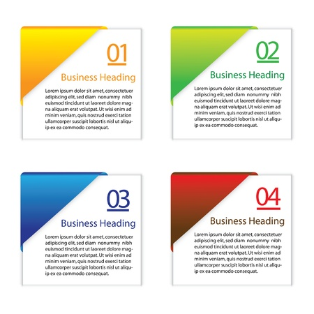 3D graphic illustration of colorful blank or empty paper info cards slips  for displaying messages and other information Stock Vector - 19525593